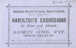 Advert for Sanger's Grand National Amphitheatre